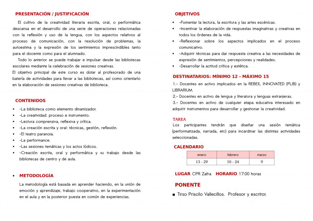 Creatividad y Biblioteca de Centro y de Aula-Tirso Priscilo Vallecillos